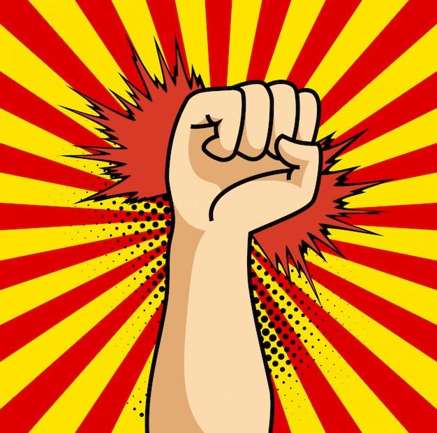 Un cartel de cómic de dibujos animados de arte pop con puño.