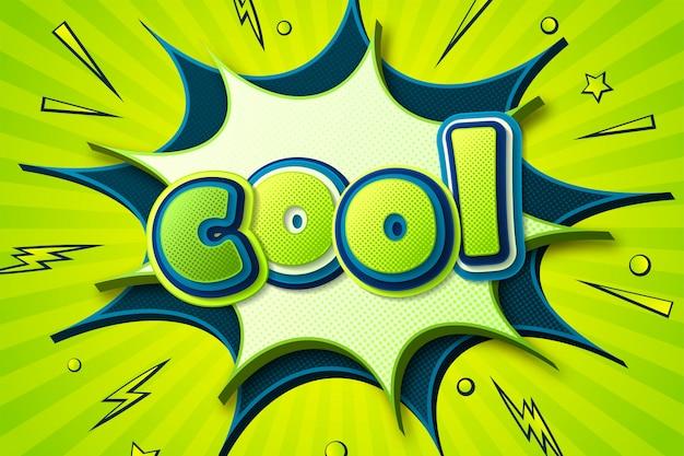 Cartel cómico con letras cool en globo