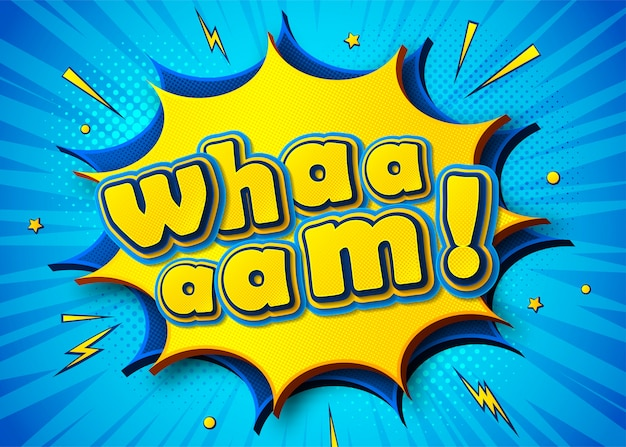 Cartel cómico con letras wham en estilo pop art