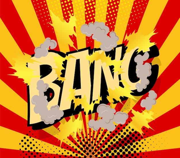 Cartel cómico con marco de explosión de dibujos animados.