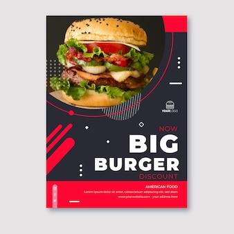 Cartel de comida americana con hamburguesa grande.