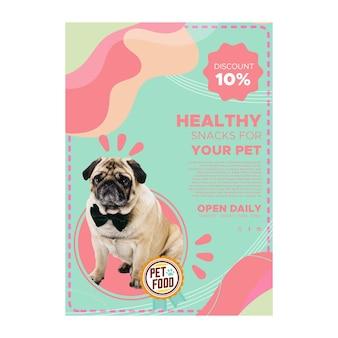 Cartel de comida para animales con foto.