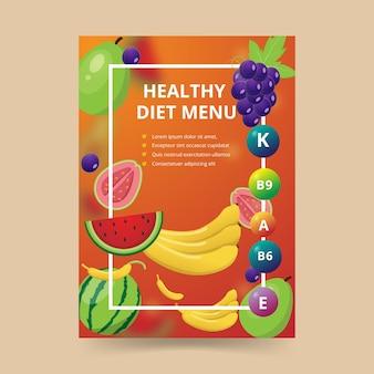 Cartel de comida para menú de dieta saludable
