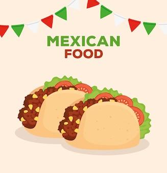 Cartel de comida mexicana con decoración de tacos y guirnaldas.