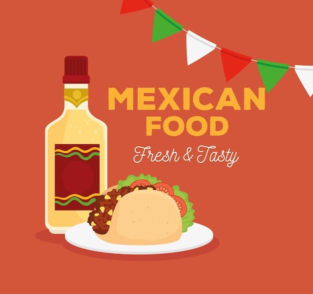 Cartel de comida mexicana con taco, botella de tequila y guirnaldas colgando