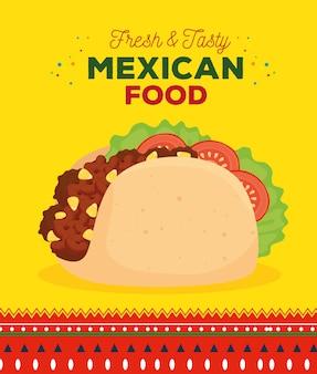 Cartel de comida mexicana con taco fresco y sabroso.