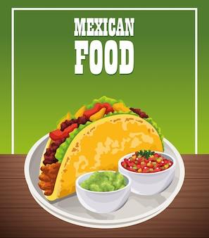Cartel de comida mexicana con tacos