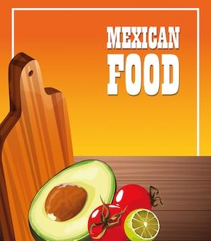Cartel de comida mexicana con verduras