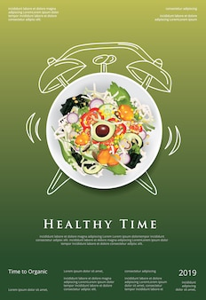 Cartel de comida orgánica de ensalada de verduras