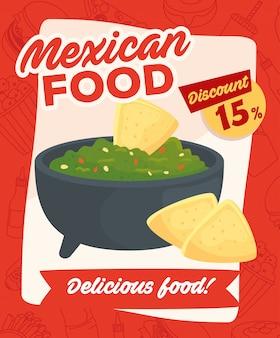 Cartel de comida rápida, comida mexicana, guacamole y nachos deliciosos, quince por ciento de descuento