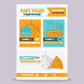 Cartel de comida rápida de comidas combinadas.