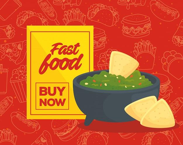 Cartel de comida rápida, compra rápida, delicioso guacamole con nachos