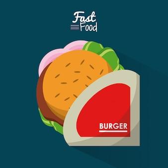Cartel de comida rápida en fondo azul con hamburguesa personal