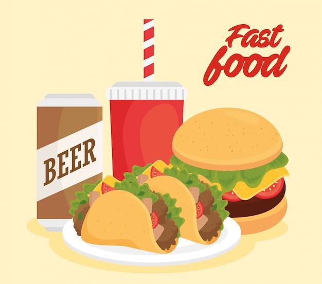 Cartel de comida rápida, hamburguesa con sándwich y bebidas.