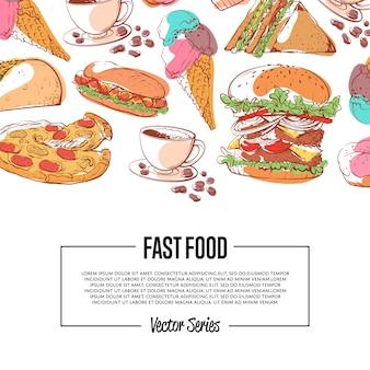 Cartel de comida rápida con menú para llevar
