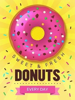 Cartel de comida sabrosa. diseño de cartel de donas con plantilla de postres de productos de panadería de alimentos de colores de desayuno.