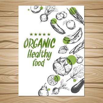 Cartel de comida saludable dibujado a mano