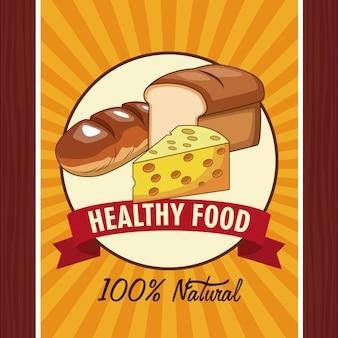 Cartel de comida saludable con el emblema y la bandera de la cinta