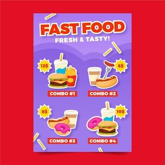 Cartel de comidas combinadas de comida rápida.