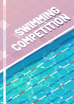 Cartel de competición de natación con vista superior de una piscina.