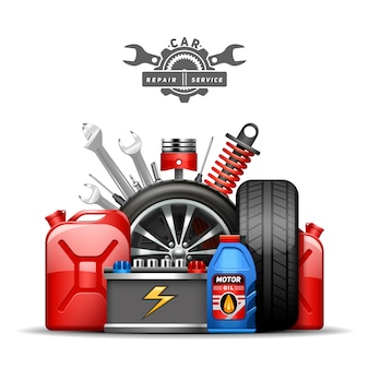 Cartel de composición de anuncio de centro de servicio de coche con ruedas bombona de aceite y gas de neumáticos