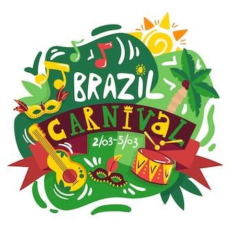 Cartel de composición de anuncio de fechas de celebración anual de carnaval de brasil con colores nacionales símbolos musicales e instrumentos ilustración vectorial