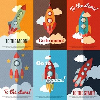 Cartel de composición de banners planos cohete vintage