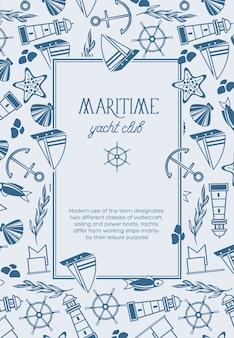 Cartel de composición de boceto de marco cuadrado de club náutico con objetos marítimos monocromáticos como peces, barcos, estrellas rojas y banderas