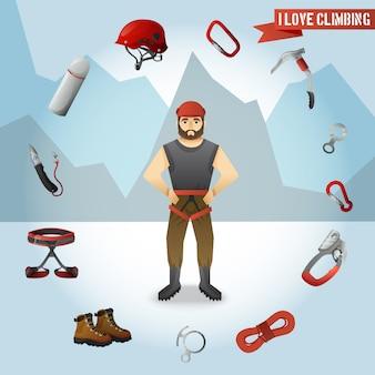 Cartel de composición de los iconos de carácter de escalador de montaña