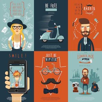 Cartel de composición de iconos planos de hipster