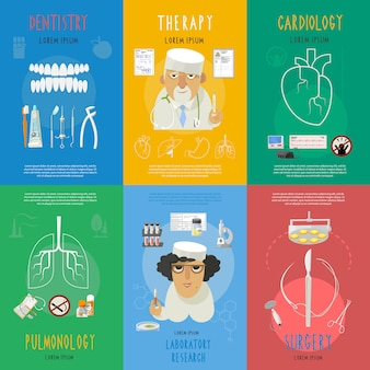 Cartel de composición de los iconos planos de medicina