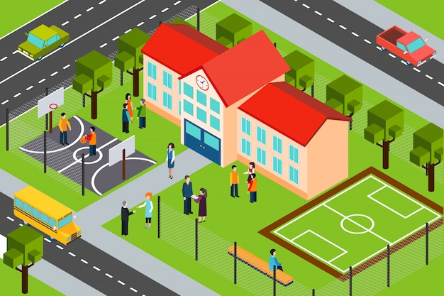 Cartel de composición isométrica del área de construcción de la escuela