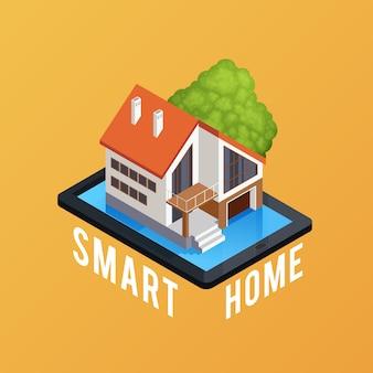 Cartel de composición isométrica de casa inteligente