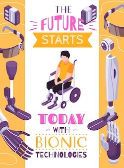 Cartel de composición isométrica del concepto de prótesis biónica con extremidades robóticas para actividades específicas ojo controlado por el cerebro