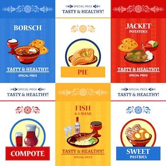 Cartel de composición plana de cocina rusa