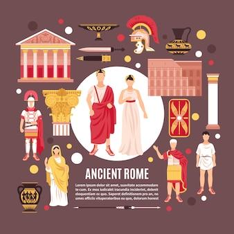 Cartel de composición plana de monumentos históricos de arquitectura de cultura de ciudadanos de roma antigua
