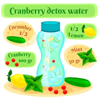 Cartel de composición plana de receta de agua de desintoxicación de arándano con botella de infusión e ingredientes de menta de limón y pepino