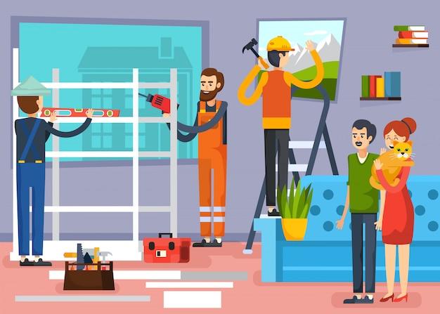 Cartel de composición plana de trabajadores de la construcción