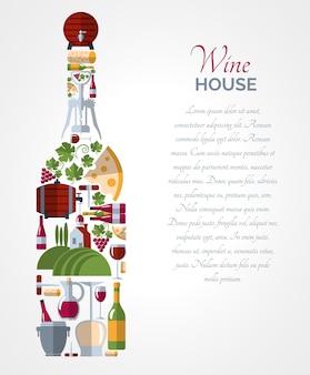 Cartel de composiciones de iconos de botellas de vino.