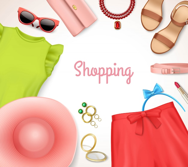 Cartel de las compras del marco de la ropa y de los accesorios de las mujeres del verano