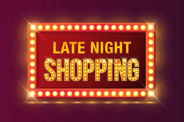 Cartel de compras por la noche en el marco brillante de neón retro