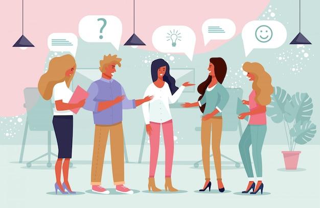 Cartel comunidad jóvenes compartiendo ideas plana