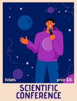 Cartel del concepto de conferencia científica.