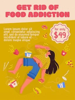 Cartel del concepto deshacerse de la adicción a los alimentos. mujer con sobrepeso se encuentra entre la comida rápida. triste joven regordeta necesita ayuda con problemas nutricionales.