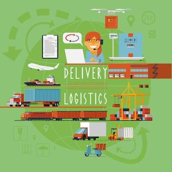 Cartel de concepto logístico de transporte mundial.