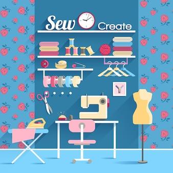 Cartel de concepto de sala de costura
