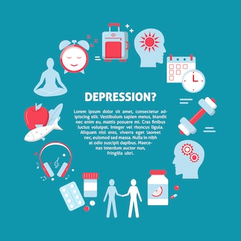Cartel concepto de tratamiento de la depresión.