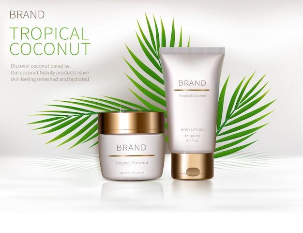 Cartel conceptual de crema natural orgánica.