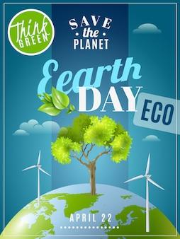 Cartel de la conciencia de la ecología del día de la tierra