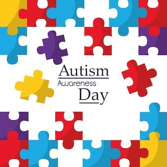 Cartel de concientización de autismo con piezas de rompecabezas solidaridad